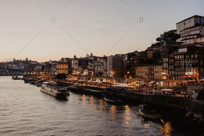Porto, Potugal - October 18, 2018: Sun set in Porto, Portugal