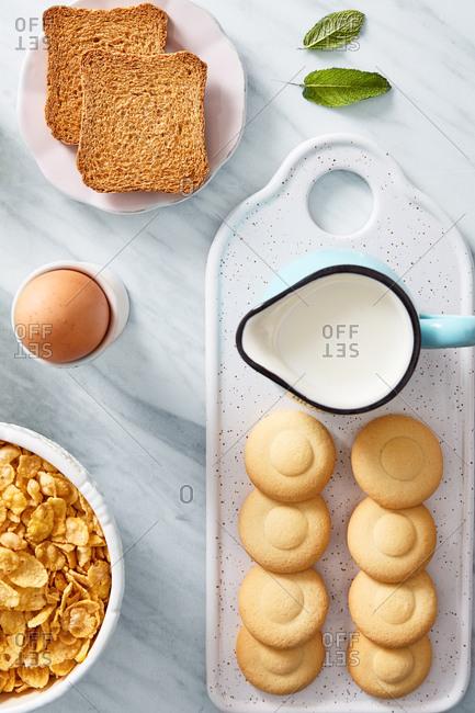 Top view of rich healthy breakfast ingredients. flat lay