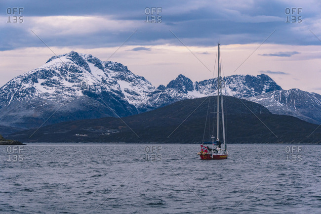 Skjervoy, Northern Norway - November 10, 2018: Norwegian sailing boat in arctic fjords
