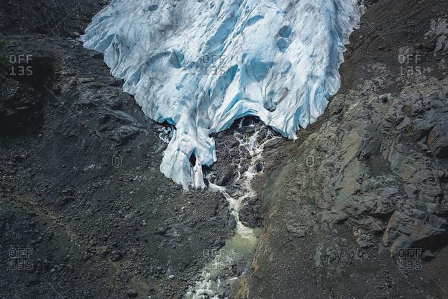 Aerial ice caves of bear glacier