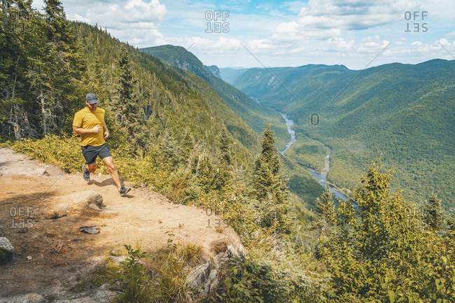 Trail running above Jacques Cartier Valley
