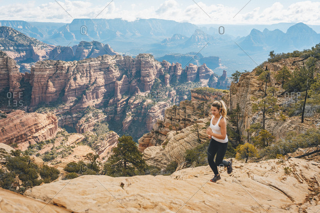 Female trail running bear mountain peak