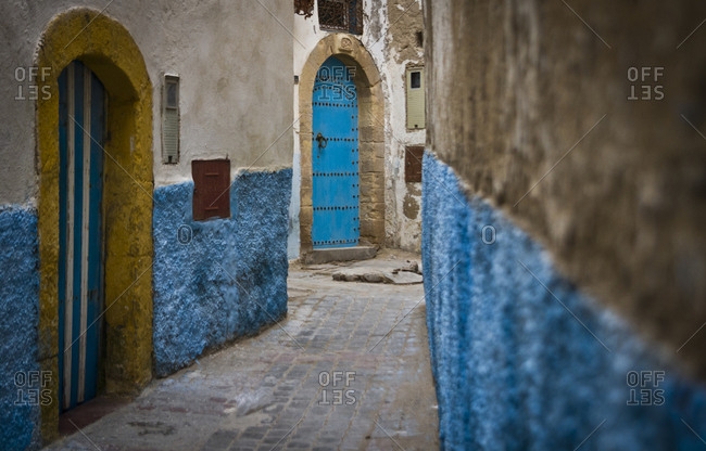 A colorful alleyway in Essaouira, Morocco, Africa