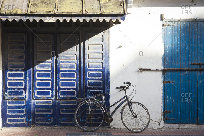 March 28, 2013: A bicycle parked against a wall in Essaouira, Morocco, Africa