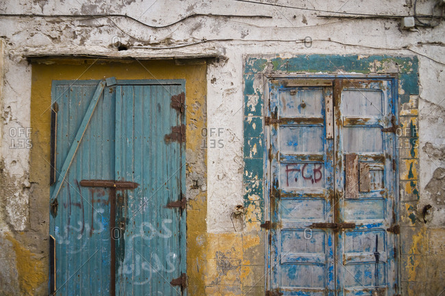 March 28, 2013: Closed doors in Essaouira, Morocco, Africa