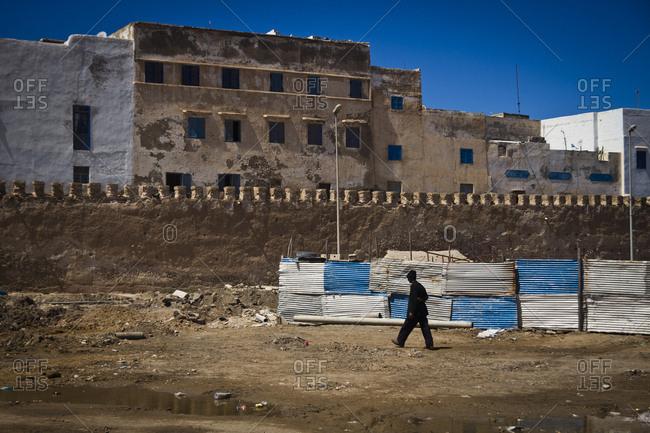March 28, 2013: Scene outside the medina wall in Essaouira, Morocco, Africa