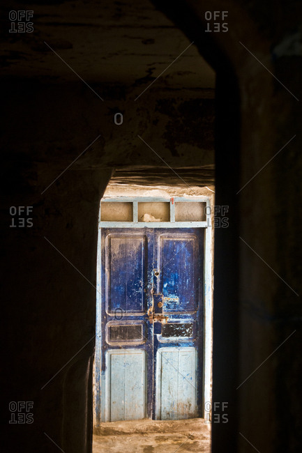 March 28, 2013: A weathered doorway in Essaouira, Morocco, Africa