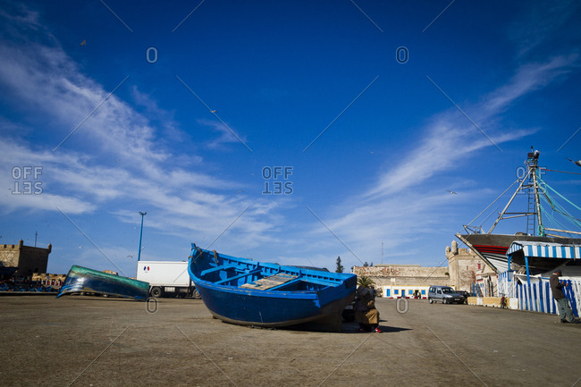 March 28, 2013: A boat out of the water at the port in Essaouira, Morocco, Africa