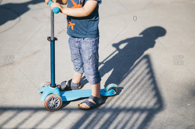 The shadow of young boy in a Skate Park