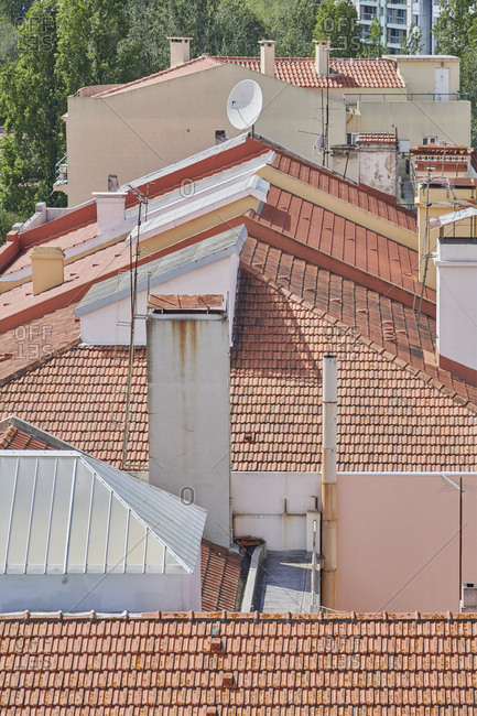 Buildings with red rooftops in Lisbon, Portugal