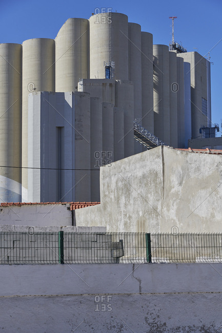 Concrete silos in the Trafaria municipality of Lisbon, Portugal