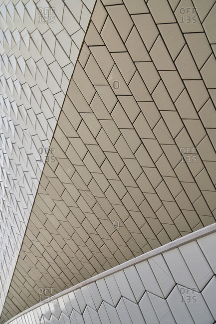 Lisbon, Portugal - September 10, 2019: White tile geometric exterior of The Museum of Art, Architecture and Technology is a museum in Lisbon
