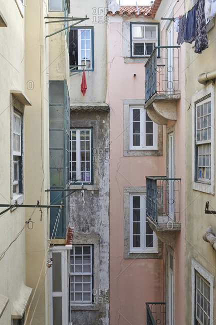 Air shaft in middle of apartment block in Lisbon, Portugal