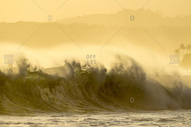 Waves splashing on a tropical beach