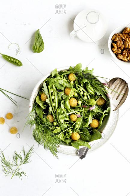 Arugula salad with coconut vinaigrette