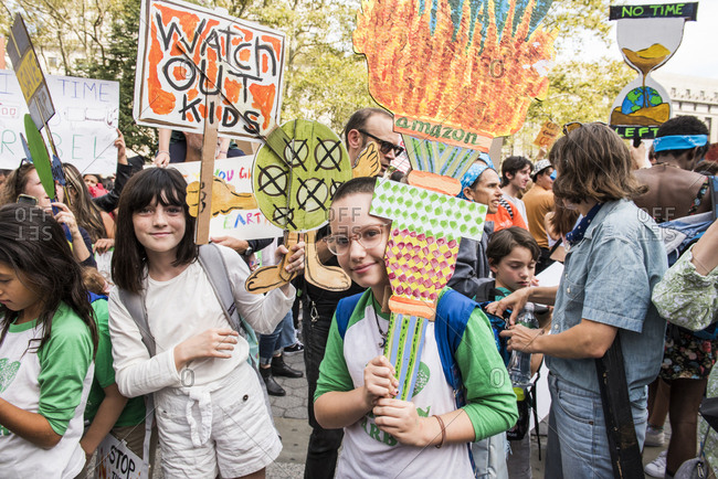 New York City, New York - September 20, 2019: Kids holding signs at the Global Climate Strike