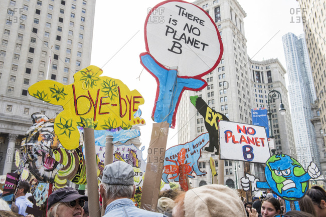 New York City, New York - September 20, 2019: Crowd holding signs at the Global Climate Strike