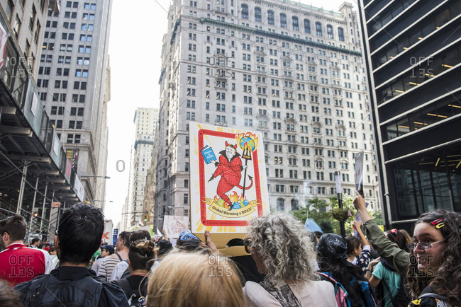 New York City, New York - September 20, 2019: Trump poster at the Global Climate Strike
