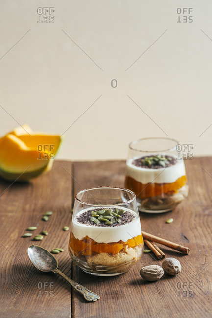 Winter squash and spiced tiramisu on a wooden table