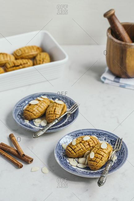 Cinnamon and almonds traditional Turkish dessert Kalburabasti