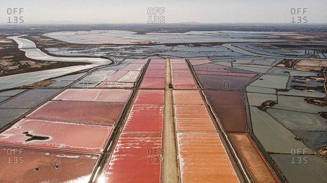 Aerial view of some brine salt flats in Southern Spain
