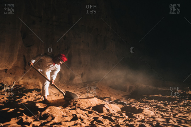 Bedouin barbecue preparations, wadi rum