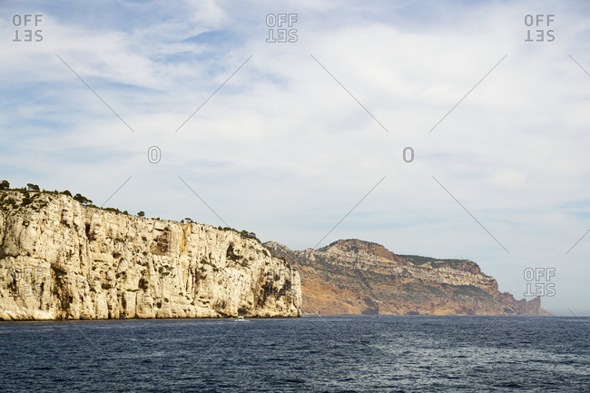 Beautiful white limestone rocks on seashore