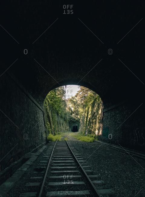 Abandoned overgrown aged railway