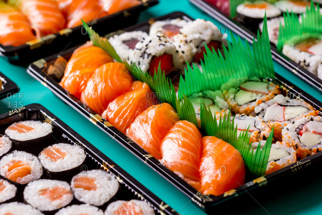 Appetizing delicious colorful sushi served table in restaurant