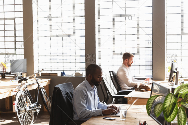 Side view of a young African American man and a young Caucasian man sitting at desks using computers in a creative office