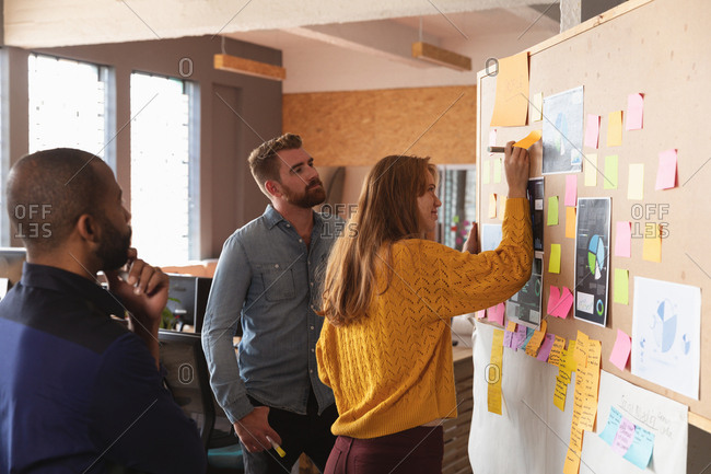 Side view of a young African American man and a young Caucasian man standing and watching their young Caucasian female colleague writing on an ideas board during a team brainstorm session at a creative office