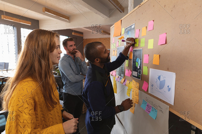 Side view of a young Caucasian woman and man standing and watching their young African American male colleague writing on an ideas board during a team brainstorm session at a creative office