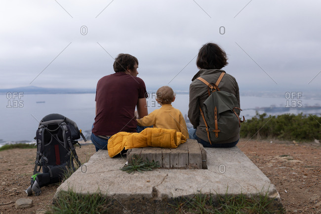 Rear view of a young Caucasian father and mother sitting in a park with their baby between them and enjoying the view