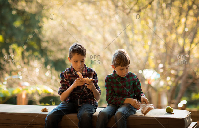 Front view of two pre teen Caucasian boys sitting on a bench in a garden, eating lunch