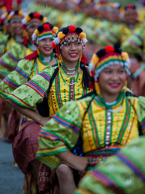 Davao, Philippines - November 13, 2018: Performers in the parade at the annual Kadayawan Festival
