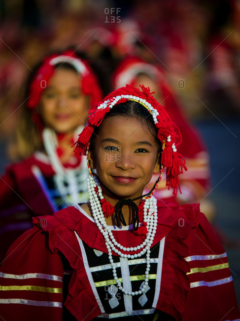 Davao, Philippines - November 13, 2018: Portrait of a performer at the annual Kadayawan Festival