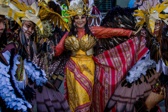 Davao, Philippines - November 13, 2018: Performers dressed in elaborate costumes at the annual Kadayawan Festival