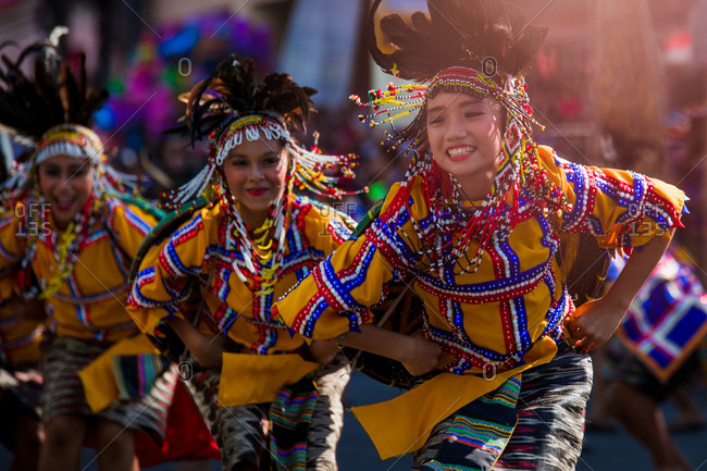 Davao, Philippines - November 13, 2018: Young performers dancing in the parade at the annual Kadayawan Festival