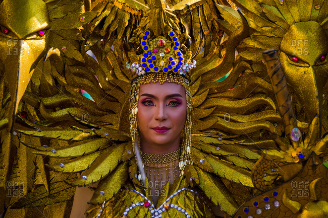 Davao, Philippines - November 13, 2018: Close up of a Kosplay Kadayawan contestant dressed as an iconic Philippine Eagle at the annual Kadayawan Festival