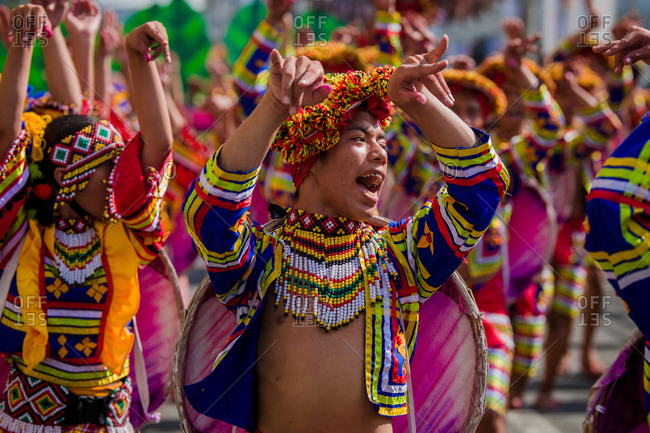 Davao, Philippines - November 13, 2018: Group of performers in the parade at the annual Kadayawan Festival