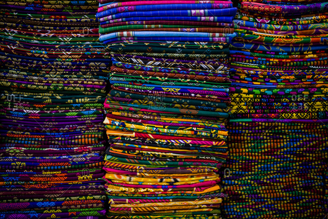Colorful textiles at a market in Davao, Philippines