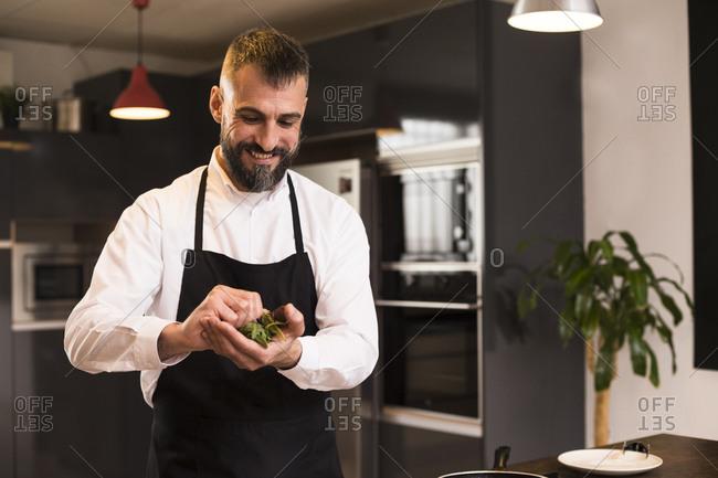 Positive chef preparing fresh herbs for dish
