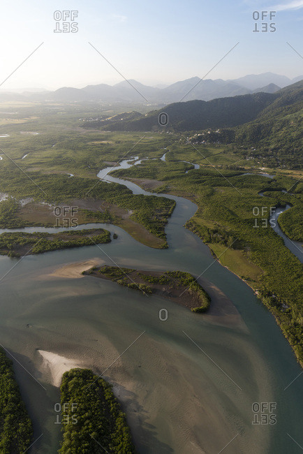 Aerial view from helicopter flight to beautiful river and mangrove