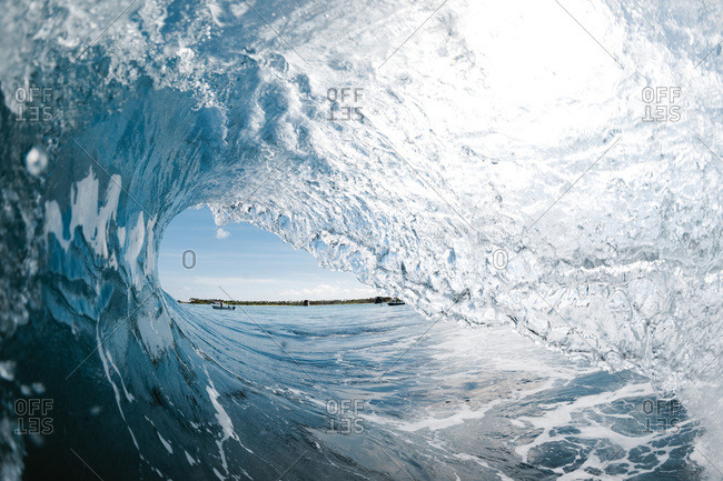 Inside a wave breaking in the warm water of indonesia