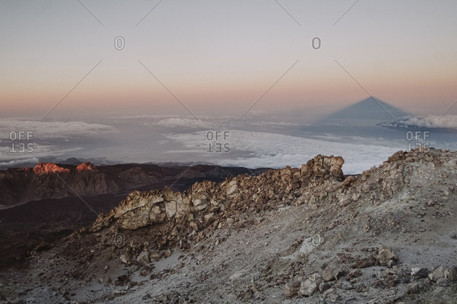Shadow of mount teide in the horizon seen from the summit