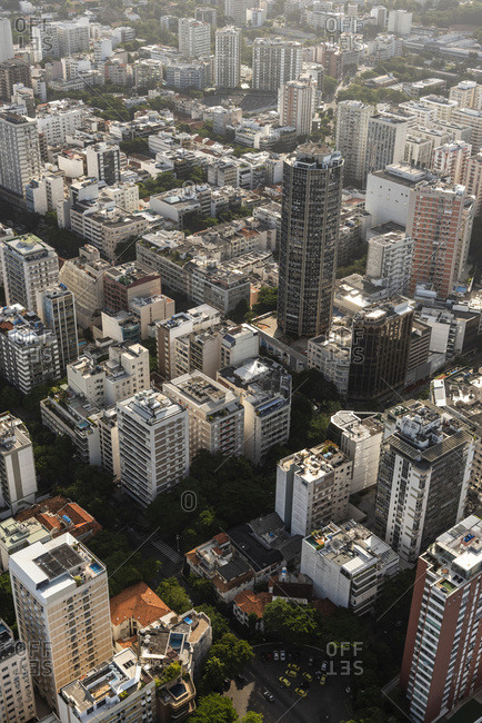 Rio de janeiro, brazil - june 22, 2019: aerial view from helicopter to city buildings in leblon district