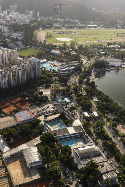 Rio de janeiro, brazil - june 22, 2019: aerial view from helicopter to city buildings and jockey club