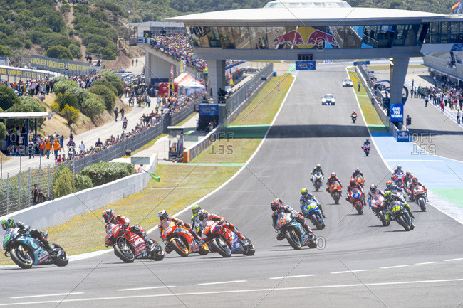 Jerez de la frontera, spain - may 5, 2019: moto gp race starts
