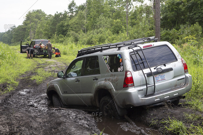 Havelock, north carolina, usa - july 16, 2017: suv stuck in a mud hole within the croatan national forest