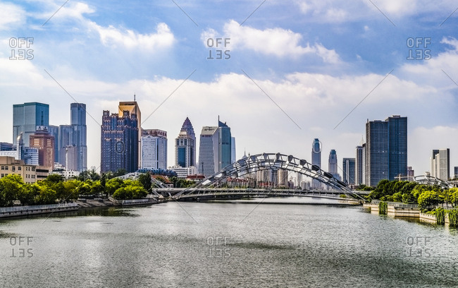 September 11, 2019: Tianjin haihe river scenery Bengbu bridge
